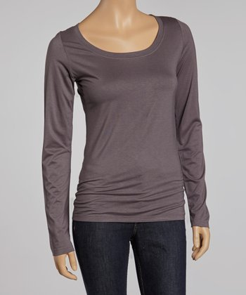 Slate Gray Scoop Neck Long-Sleeve Top