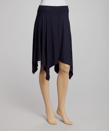 French Navy Ribbed Handkerchief Skirt