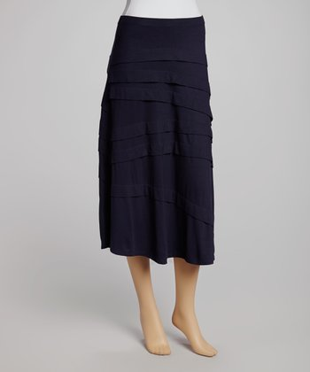 French Navy Diagonal Tier Skirt