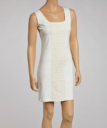 Ivory Lace Panel Sheath Dress