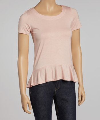 Tea Rose Peplum Scoop Top