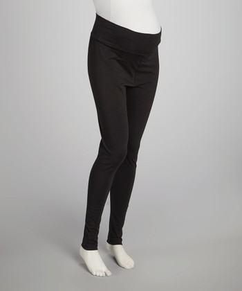 Black Mid-Belly Maternity Leggings