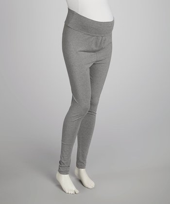 Gray Mid-Belly Maternity Leggings