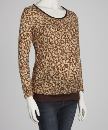 CT Brushed Brown Floral Maternity Long-Sleeve Top