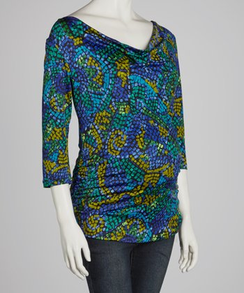 Blue Mosaic Maternity/Nursing Three-Quarter Sleeve Top
