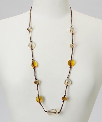 Brown & Bronze Crystal Beaded Station Necklace