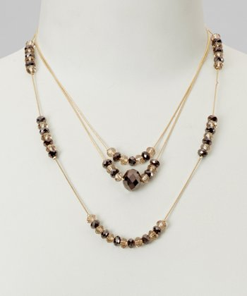 Gold & Crystal Triple Strand Necklace
