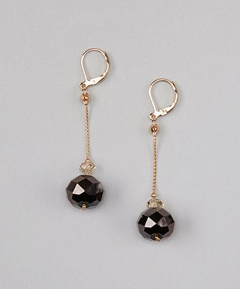Black Crystal Euro-Wire Earrings