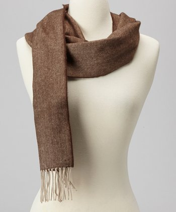 Brown Herringbone Cashmere Scarf