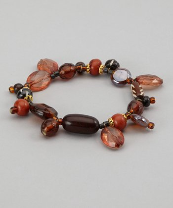 Brown Beaded Stretch Bracelet