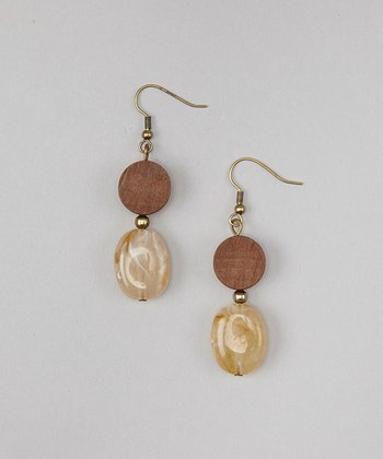 Brown Double Drop Marbled Earrings
