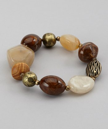 Brown & Burnished Gold Beaded Stretch Bracelet