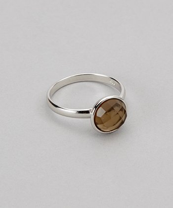 Sterling Silver & Smoky Quartz Round Ring