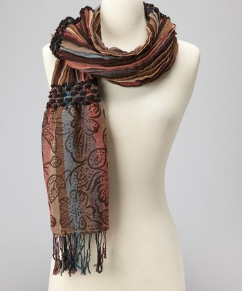Brown & Pink Pleated Scarf