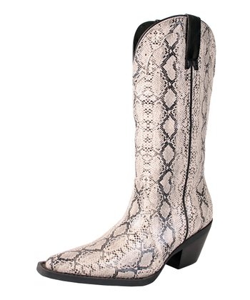 Bone & Black Stallion Cowboy Boot - Women