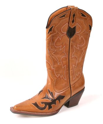 Tan & Brown Mustang Cowboy Boot - Women
