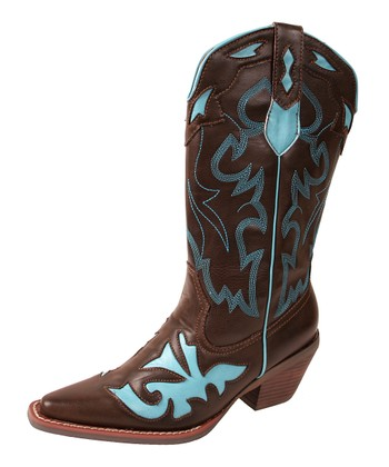 Brown & Turquoise Mustang Cowboy Boot - Women