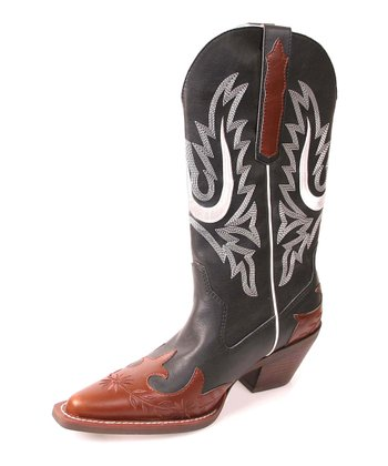 Black & Tan Spur Cowboy Boot - Women