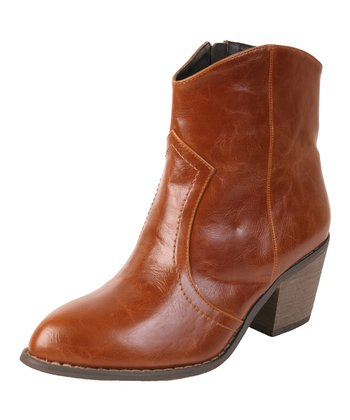 Brown Distressed Sundance Cowboy Bootie - Women