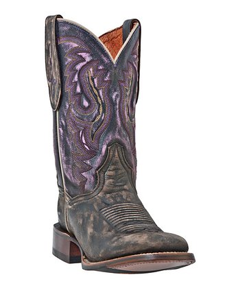 Brown & Purple Cowboy Boot - Women