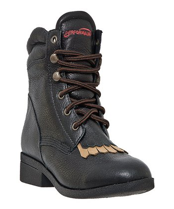 Black Buffed Strap Boot - Women