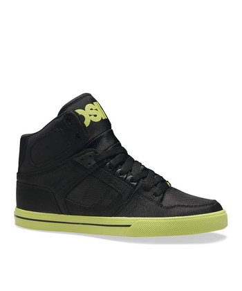 Black & Lime NYC 83 Vulc Hi-Top Sneaker - Kids