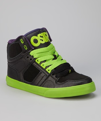 Black & Green NYC 83 Vulc Hi-Top Sneaker - Kids