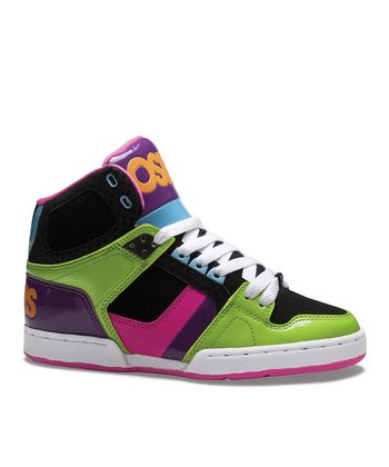 Green & Black NYC 83 Slim Hi-Top Sneaker - Kids