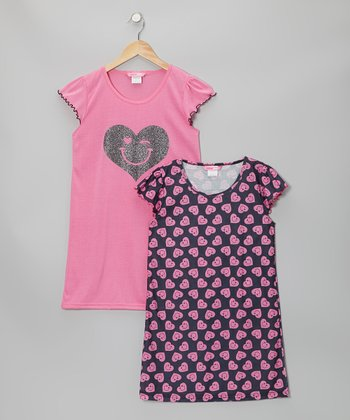 Pink & Black Heart Nightgown Set