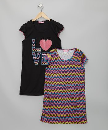Black & Pink Chevron Nightgown Set - Girls