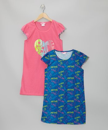 Dark Pink & Blue Graffiti Nightgown Set - Girls