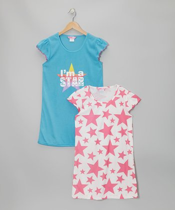 Light Blue & Pink Star Nightgown Set