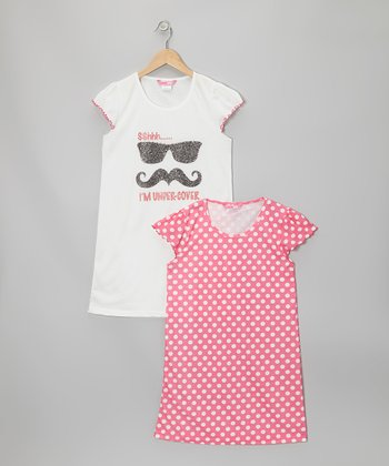 White Mustache & Pink Polka Dot Nightgown Set