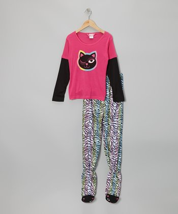 Pink Cat Layered Footie Pajama Set - Girls