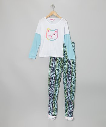 White Cat Layered Footie Pajama Set - Girls