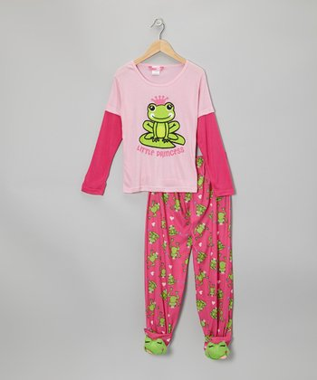 Pink Frog Layered Footie Pajama Set - Girls