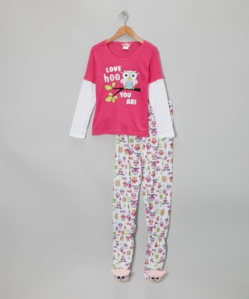 Pink Owl Layered Footie Pajama Set - Girls