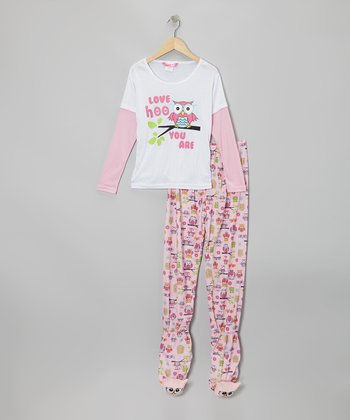 White Owl Layered Footie Pajama Set - Girls