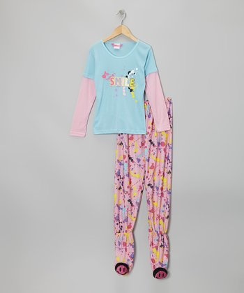 Blue Smile Layered Footie Pajama Set - Girls