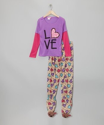 Lavender 'Love' Layered Footie Pajama Set - Girls