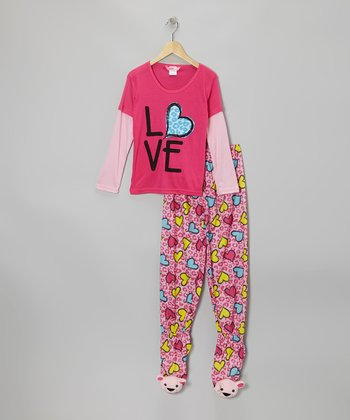 Pink 'Love' Layered Footie Pajama Set - Girls