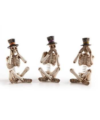 Halloween Skeleton Shelf Sitter Figurine Set