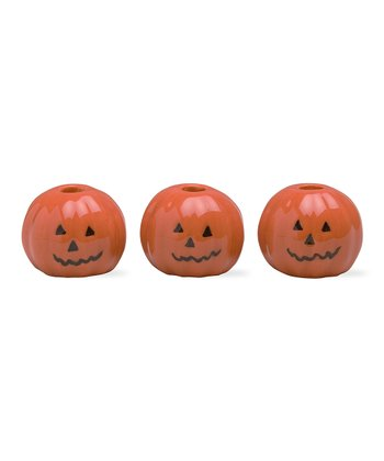 Mini Pumpkin Taper Holder - Set of Three