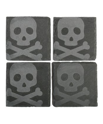 Skull & Bones Slate Coaster - Set of Four