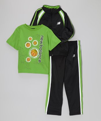 Lime & Black Track Jacket Set - Toddler & Boys