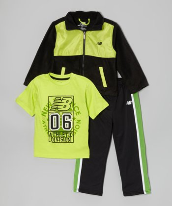 Black & Lime Track Jacket Set - Toddler & Boys