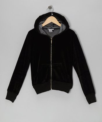 Black Velour Zip-Up Hoodie