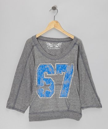 Heather Gray & Blue '67'  Dolman Top