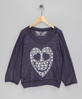 Purple Skull Heart Dolman Top