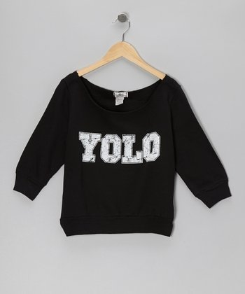 Black 'Yolo' Boatneck Sweatshirt